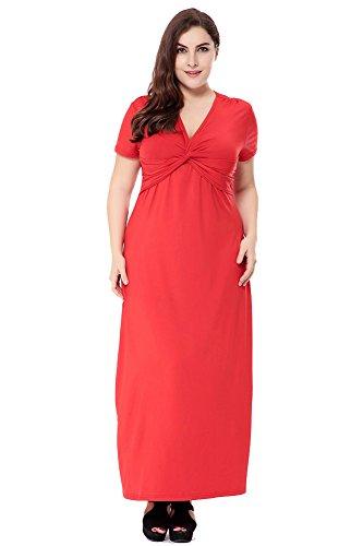 Zhuikun donna scollo a v maniche a 3/4 abito a vita alta lunghe vestito taglie forti vestiti rosso l