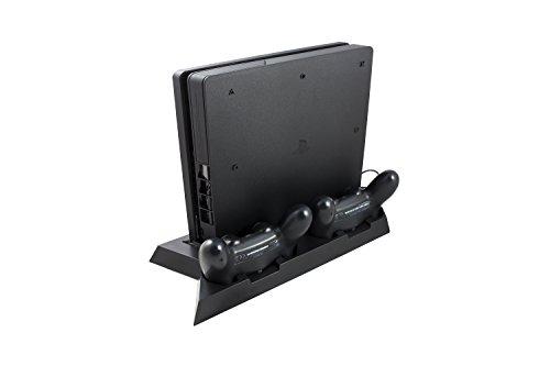 GAMINGER PS4 Slim / PS4 Multifunktionsstandfuß mit Ladestation, Lüftern, USB Hub und Vertical Stand Standfuß, inklusive Adapter für PS4 Slim - Schwarz …