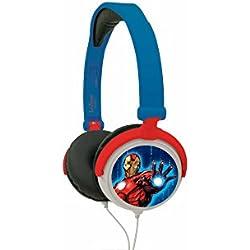 Marvel Vengadores-Auriculares Estéreo con Diadema Ajustable y Plegable (Lexibook HP010AV) Avengers, Color Azul