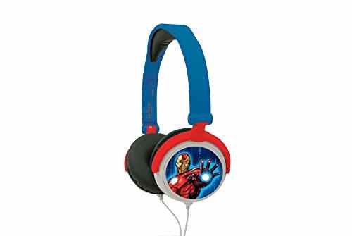 Lexibook Marvel The Avengers Iron Man Stereokopfhörer, kinderfreundliche Kraft, faltbar und einstellbar, Rot / Blau, HP010AV