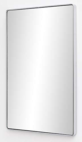 FineBuy Wandspiegel FB13967 Silber 50 x 80 x 4 cm Spiegel Modern Rahmen Groß | Hängespiegel Schlafzimmer Rechteckig | Garderobenspiegel Flur zum Aufhängen Eckig | Design Dekospiegel Wand Wohnzimmer