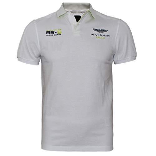 Hackett Aston Martin Racing Uomo Polo T Shirt Tracolla & Braccio Pannello Bianco, XL