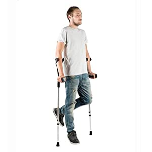 PEPE-KRÜCKEN, Gehhilfe Krücken Schwarz, Gehilfe Krücken für Senioren, Verstellbare Aluminiumgehhilfe, Doppelset Krücken