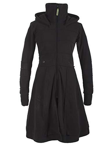 Vishes - Alternative Bekleidung - Langer Warmer Weicher Damen Winter Fleecemantel Kapuze Stehkragen schwarz 38
