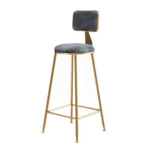 Moderne Barhocker Fußstütze Stuhl mit lehne Tresenhocker für Bartisch Esszimmerstühle Gegenhöhe   Samtkissen und Metallbeine für Bar Pub Dining Kitchen, Grau