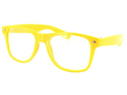 Alsino Farbige Atzen Wayfarer Brille Nerd klar V-816E, Farbe wählen:V-816E gelb