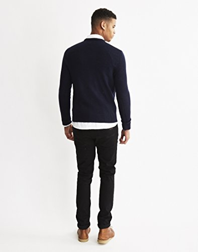 Farah Rosecroft Crew Neck Wool Jumper in Dusky Blue Nav