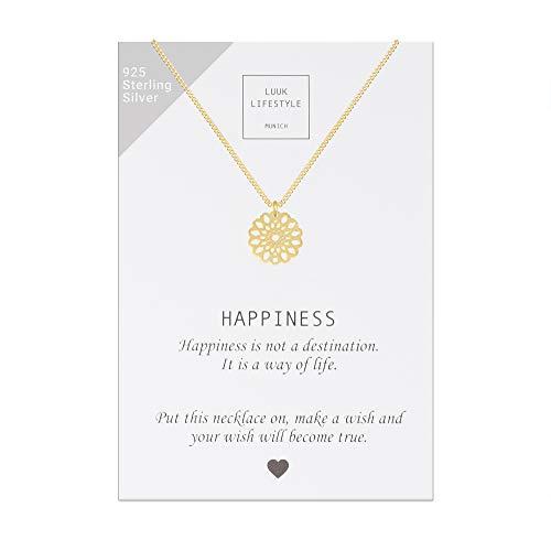LUUK LIFESTYLE Sterling Silber 925 Halskette mit Mandala Anhänger und Happiness Spruchkarte, Glücksbringer, Damen Schmuck, gold (Halskette Gold)