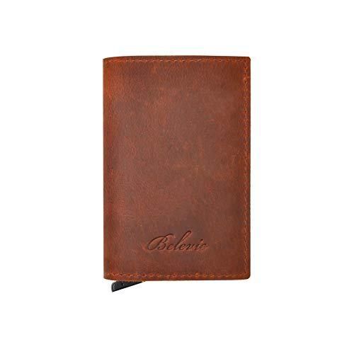 aa0b44fcb82a0c Porta Carte di Credito da Uomo, Belevie Mini Portafoglio Uomo Vera Pelle  Blocco RFID con