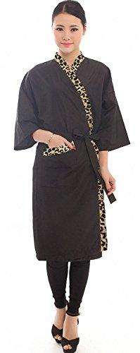 Blouse de coiffure pour clients, blouse de salon de coiffure, style kimono, longueur : 109 cm, couleur noire avec bordure léopard