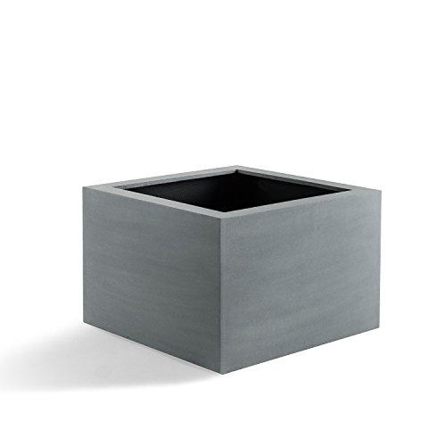 "Pflanzkübel ""Argento Low Cube"" Betongrau Qudratisch Fiberglas *5 Jahre Garantie* - 100x100x60cm - F1098"