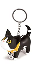 Porte clés chat avec collier grelot - noir / blanc