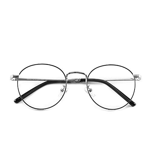 Yangjing-hl Retro Metall runden flachen Spiegel literarischen runden Rahmen Brillengestell Student Brillengestell schwarz silbernen Rahmen