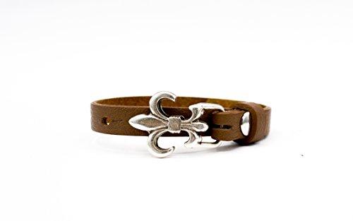 Lederarmband mit Anker / Lilie in höchster Qualität | Hochwertiges Echtleder aus Italien| Armband aus Leder mit wechselbaren Verschluss | Damen- und Herren Schmuck
