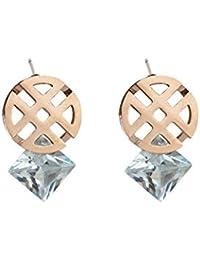 1d683b9d7252 Earrings Home Nuevos Pendientes geométricos Femeninos de Titanio de Acero  Redondo Cuadrado circón Oro Rosa Pendientes de Moda…
