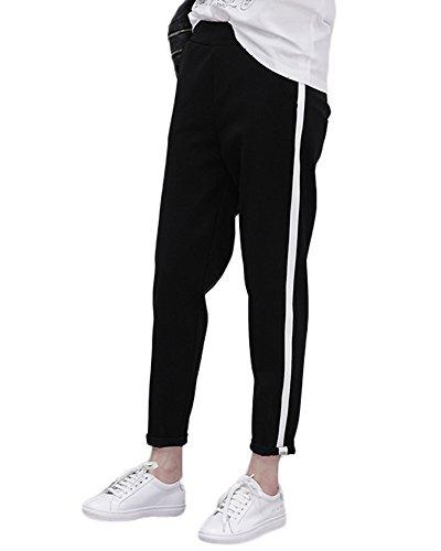 Minetom Damen Herbst Schlank Lose Sweatpants Jogginghose Boyfriend Sports Hose Rolling-up Harem Pants Bleistift Hosen Schwarz EU XL