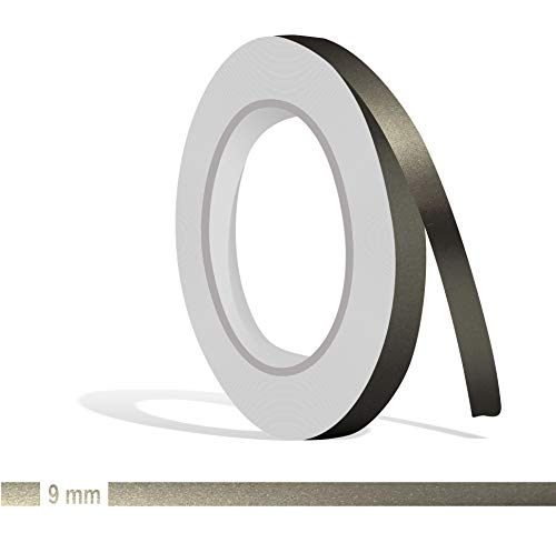 Siviwonder Zierstreifen anthrazit grau metallic Glanz in 9 mm Breite und 10 m Länge Folie Aufkleber für Auto Boot Jetski Modellbau Klebeband Dekorstreifen dunkelgrau Silber