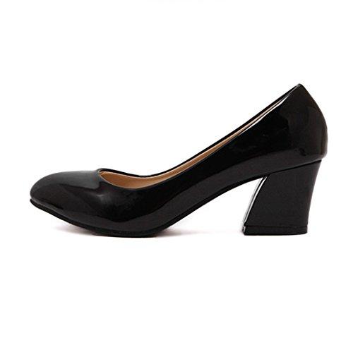 Damen Pumps Lackleder Blockabsatz Spitz Zehen Einfach Klassisch OL Strapazierfähig Formell Bequem Büro Schuhe Schwarz