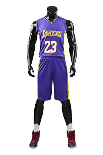 AGAB Herren NBA Lebron James # 23 Retro Basketball Shorts Los Angeles Lakers Sommer Jersey Basketball Uniform Tops und Short One Set-Purple-XXXL