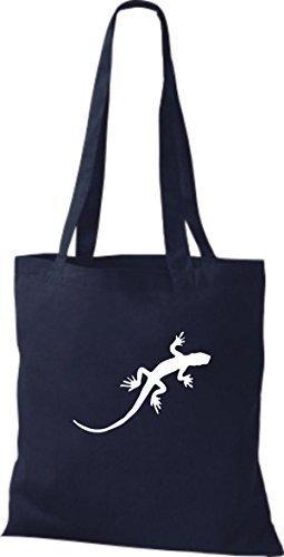 ShirtInStyle Stoffbeutel Gecko Echse Leguan Baumwolltasche Beutel, diverse Farbe french navy