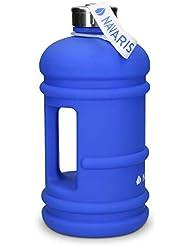 Navaris Botella Deportiva XXL - Bidón de Agua sin BPA - Cantimplora con Tapa y asa - Botella Grande de 2.2 litros para Hacer Deporte en Azul