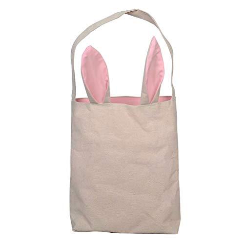 JHion Leinentasche mit Osterhasen Ohren Hase Ostern Einkaufstaschen Segeltuch Wiederverwendbare DIY Eier tragen Rosa 25.5 * 30.5 * 10cm