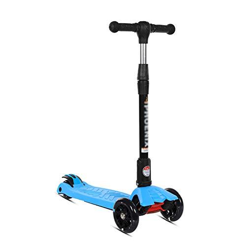 Dreiradscooter Kick Scooter Für Kinder & Kleinkinder Girls Boys - Höhenverstellbar Wide Deck PU Blinkräder Für Kinder Von 3-14 Jahren, Blau/Pink (Farbe : Blau) (Frozen Scooter Kick)