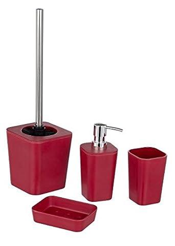 4 Tlg WENKO Bad-Accessoire-Set - Natural, red