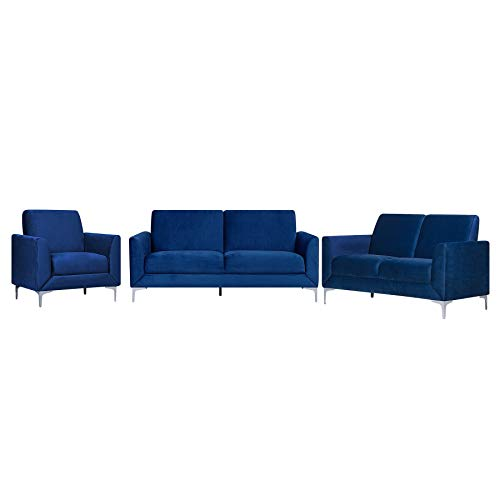 Beliani Stilvolle Sitzgruppe Samtstoff 6er Sitzer Marineblau Fenes -