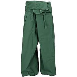 GURU-SHOP, Pantalones Tailandeses de la Pesca del Algodón, Pantalones del Abrigo, Pantalones del Yoga - Oliva, Verde, Tamaño:One Size, Pantalones Pescador Tamaño Normal