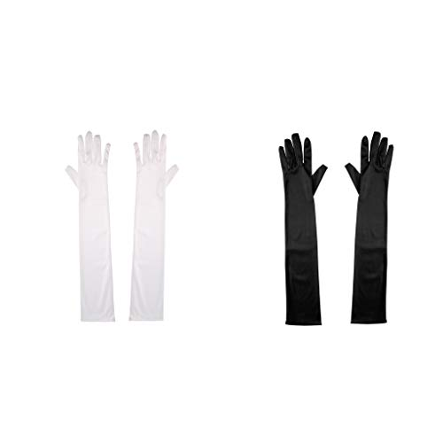 Baoblaze 2 Paare Lange Handschuhe Damenhandschuhe Stoffhandschuhe Cosplay Kostüm für jede ()