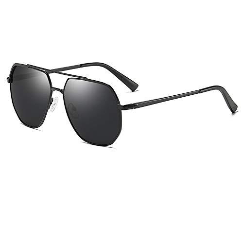 Outdoor Driving Brille Retro Fashion Polygon Frame Grau Objektiv UV400 Schutz New Herren Polarisierte Sonnenbrille Brille (Farbe : Black)