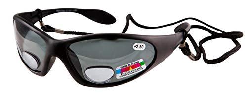 Remaldi polarisierte Angelbrille, UV400, biifokal, Stärke +2,50 Winkelaugen, schwarzer Rahmen, graue Gläser Kategorie 3