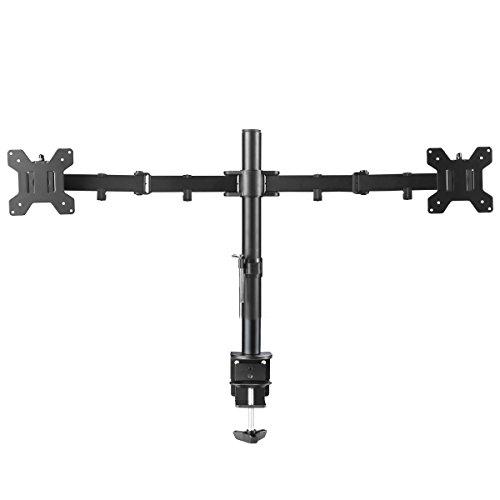 Suptek Monitorhalter Tischhalterung Standfuß mit 2 Armen für 2 Monitore 10'-27'(25-68cm) LCD LED TV Bildschirme Flachbildschirm, Belastbarkeit:10 kg/pro Monitor, neigbar, schwenkbar 360°, höhenverstellbar MD6442