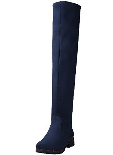 BIGTREE Stivali Alti del Ginocchio Donna Autunno Inverno Casual Piatto Confortevole Sintetica Scamosciata Calda Pelliccia Stivali Lunghi Blue 42 EU