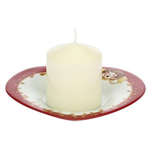 Thun® - candela e piattino portacandele a forma di cuore bianco e rosso con angioletto - porcellana - linea dolce natale