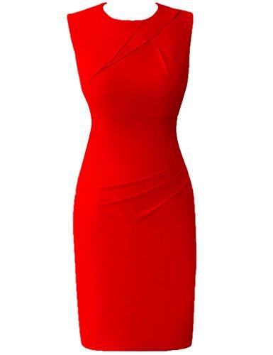 HUINI le Donne Moda Breve Chiffon Cocktail Vestiti da Ballo Ufficio Lavoro Abiti Formali Rosso