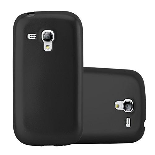 Cadorabo Custodia per Samsung Galaxy S3 Mini in Nero Metallico - Morbida Cover Protettiva Sottile di Silicone TPU con Bordo Protezione - Ultra Slim Case Antiurto Gel Back Bumper Guscio