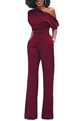 BYD Donna Tuta Lungo Monospalla Manica Corta Tute Con Tasche Pantaloni Larghi Con Cintura Tutine Intere Da Ufficio Cocktail Monopezzi