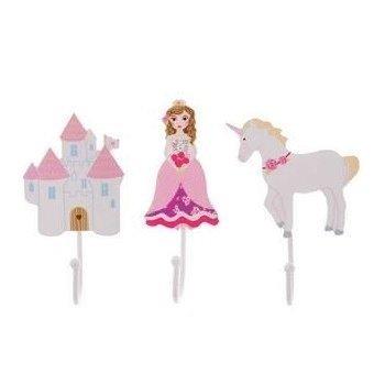 Childrens Set of 3 Girls Fairytale Coat Hooks; Castle, Princess, Unicorn