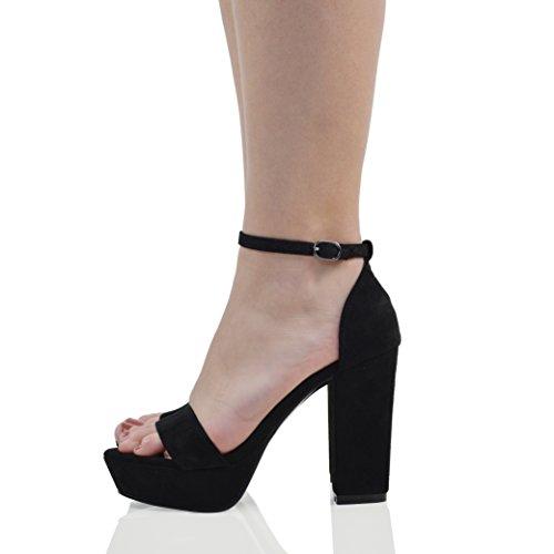 ESSEX GLAM Scarpa Donna Finto Scamosciato Sandalo Plateau Tacco a Blocco Peep Toe Cinturino alla Caviglia Festa Nero Finto Scamosciato