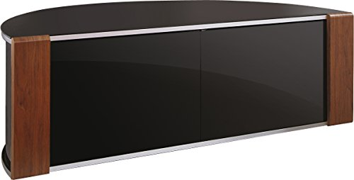 "S&C ZIN552685/BKI Remote Friendly Beam Thru Glass Door Walnut / High Gloss Piano Black with Brushed Aluminium Trim 40""-52"" LCD/Plasma/LED Cabinet TV Stand"