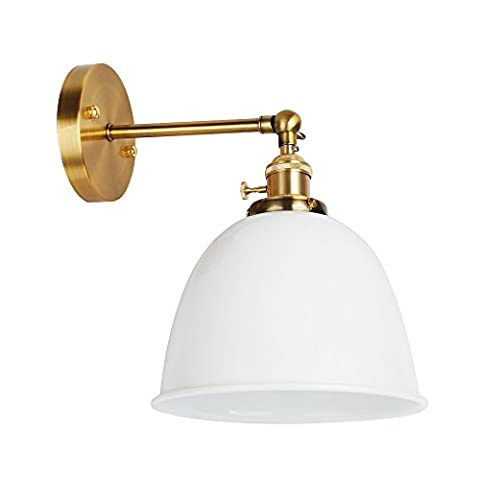 Swing Arm Wall Lamp Shade, Geekeep E27 Retro Style 180° Rotatable Wall Mount Sconce Light Fixtures with Enamel Surface , White
