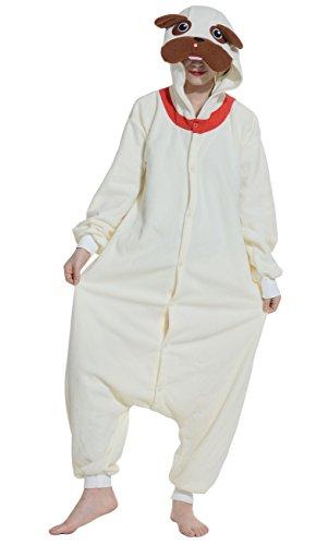 Fandecie Pyjama Tier Onesies mit Kapuze Erwachsene Unisex Cospaly Schlafanzug Halloween Kostüm Mops Geeignet für Hohe (Mops Hund Halloween Kostüme)