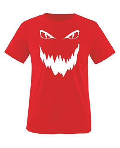Comedy Shirts - Boese Fratze - Halloween - Jungen T-Shirt - Rot/Weiss Gr. 98-104