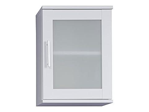 trendteam FLO50101 Bad Hängeschrank Weiß Melamin, Glas Satiniert, BxHxT 35x48x22