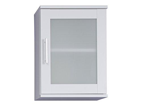 trendteam smart living Bad Hängeschrank Weiß Melamin, Glas Satiniert, BxHxT 35x48x22 cm Mobili, Legno, Bianco, 35 x 48 x 22 cm