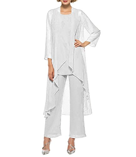 Weiß Chiffon-anzug (Ysmo Frauen Chiffon Hose Anzüge Mutter der Braut 3 Stück Lange Jacke)