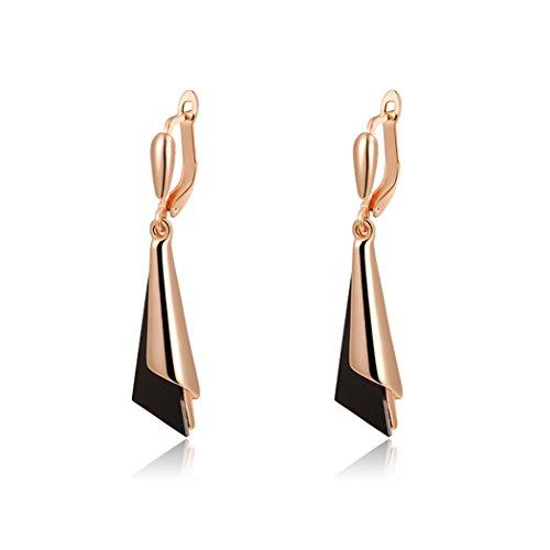 Yc Top unico, a forma di cono, placcata in Oro Rosa da 18 K; orecchini pendenti, motivo signora elegante
