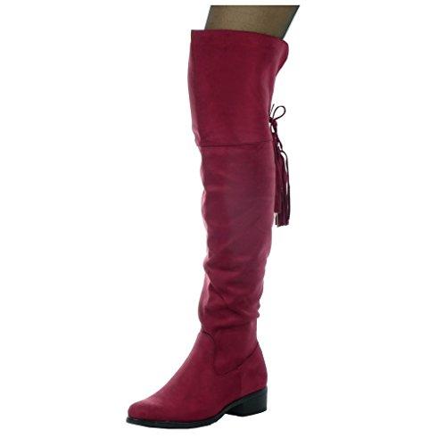 Angkorly - damen Schuhe Oberschenkel-Boot - Reitstiefel - Kavalier - Flexible - String Tanga - Fransen Blockabsatz high heel 3.5 CM Burgunderrot